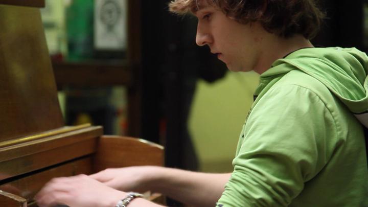 Student playing Rachmaninoff